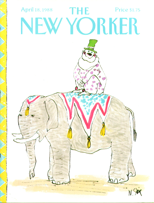 New Yorker cover Steig clown on circus elephant 4/18 1988