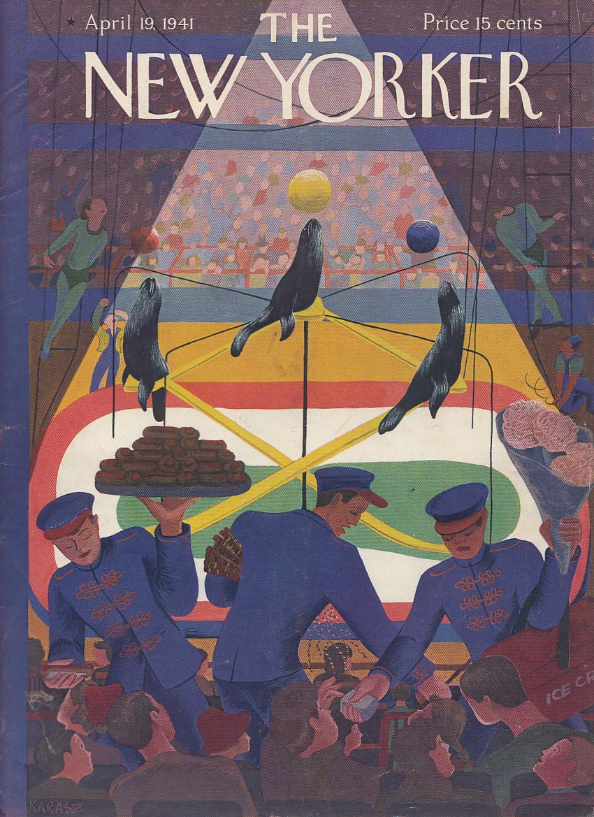 New Yorker cover 4/19 1941 Karasz seal act at circus; vendors in crowd
