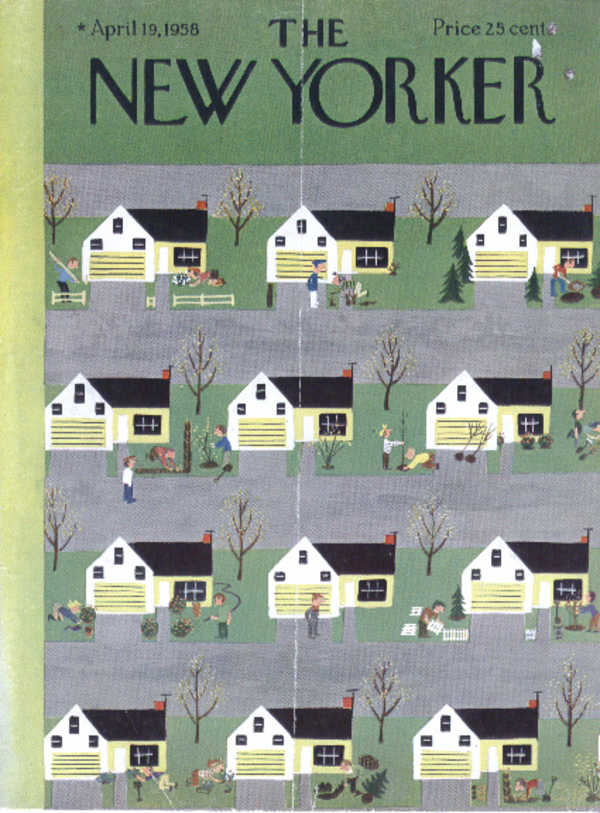 Image for New Yorker cover Martin suburbanites 4/19 1958
