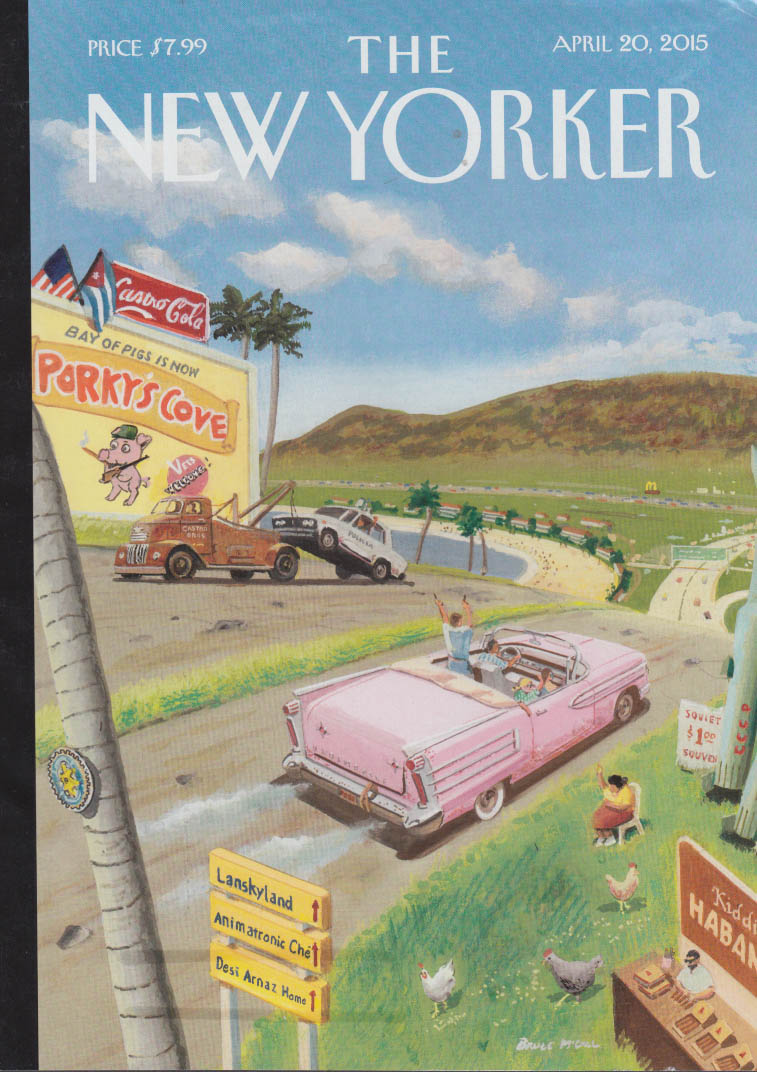 New Yorker cover 4/20 2015 Bruce McCall: Cuba goes commercial 1958 Oldsmobile