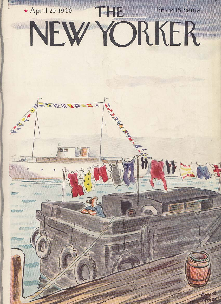 New Yorker cover Price bargeman hangs laundry 4/20 1940