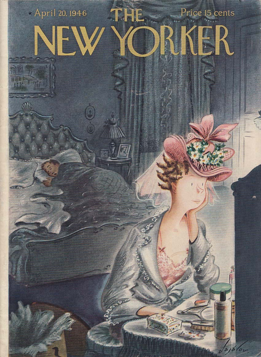 New Yorker cover Alajalov Easter hat admired 4/20 1946