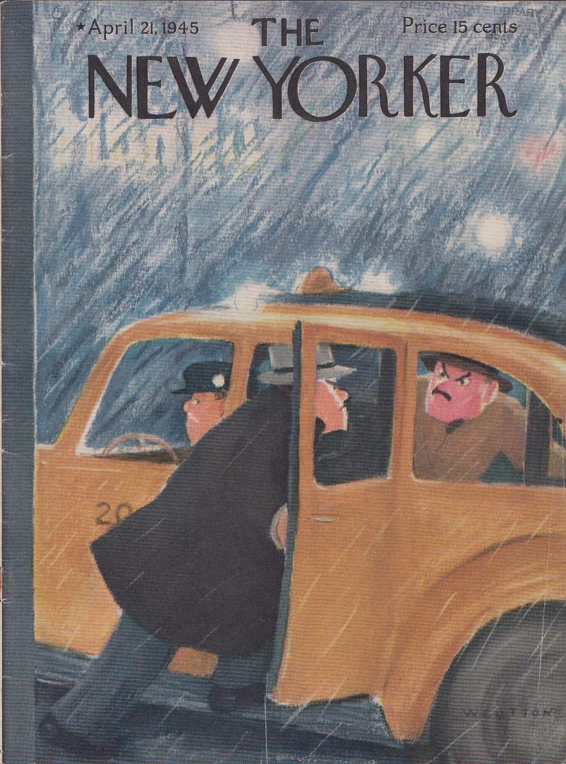 New Yorker cover 4/21 1945 W Cotton two men dispute over cab in rain