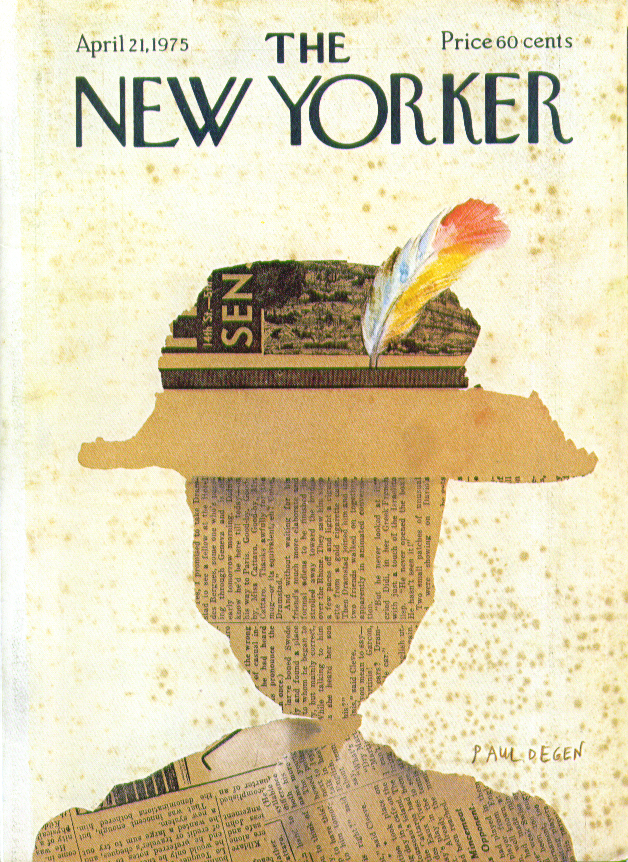 Image for New Yorker cover Degen newspaper hat collage 4/21 1975