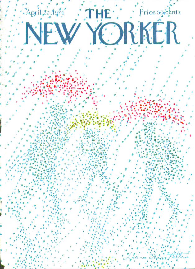 New Yorker cover Allen pointillist umbrella 4/22 1974