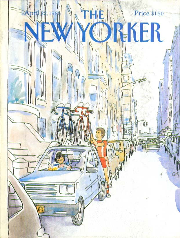 New Yorker cover Getz bicycles atop the car 4/22 1985