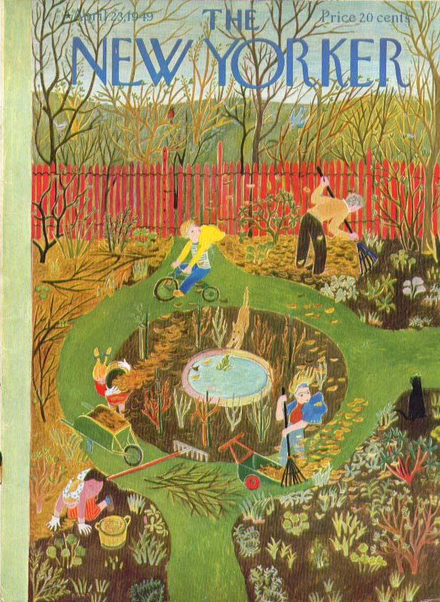 New Yorker cover Karasz 1st Spring gardening 4/23 1949