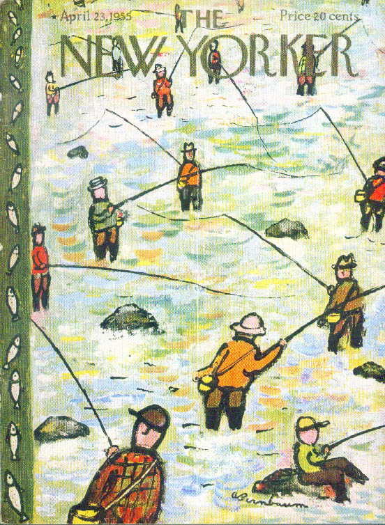 New Yorker cover Birnbaum 1st day fishing 4/23 1955