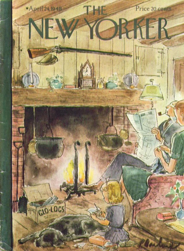 New Yorker cover Barlow Glo-Log fireside 4/24 1948