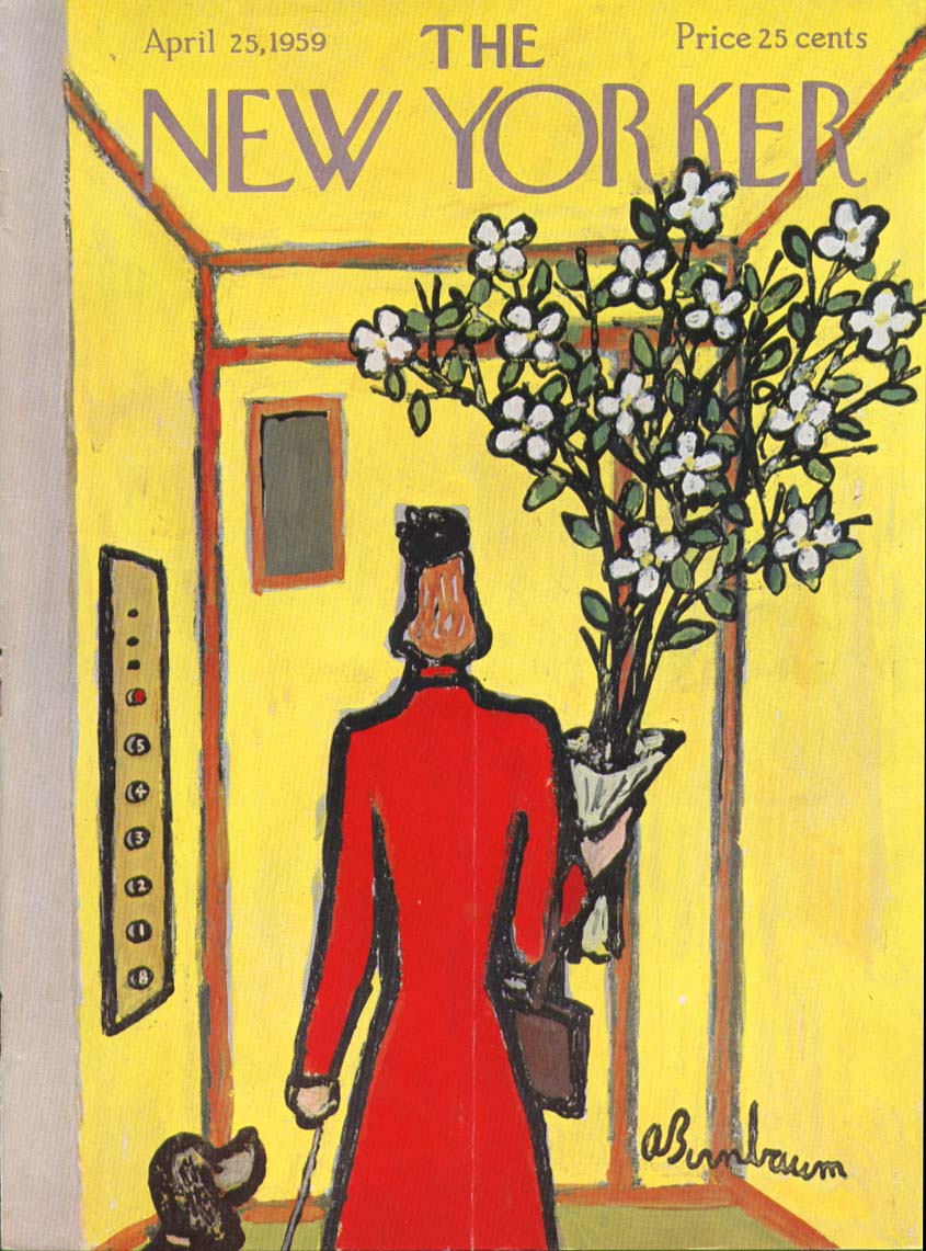 New Yorker cover Birnbaum flowers elevator 4/25 1959