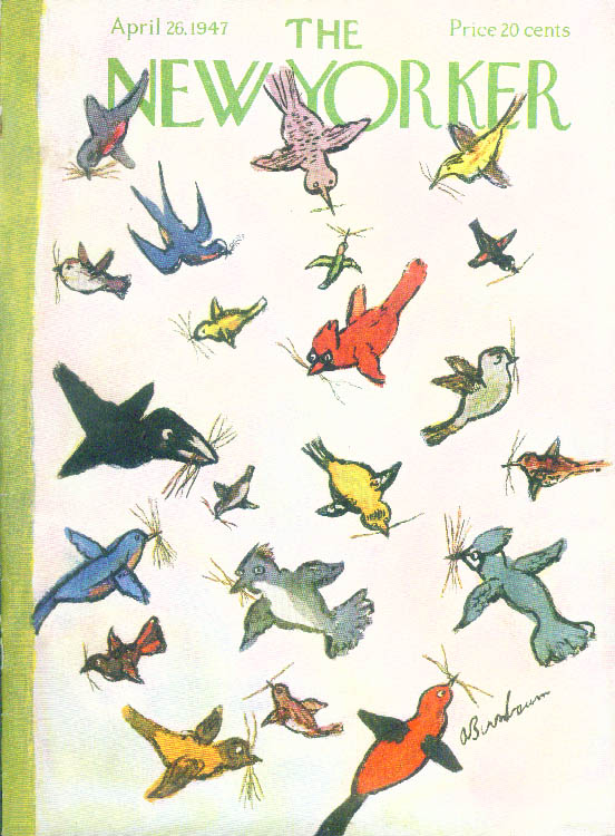 New Yorker cover Birnbaum birds a-nesting 4/26 1947