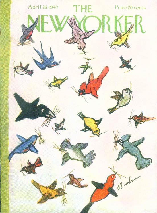 New Yorker cover Birnbaum birds a-nesting 4/26 1947