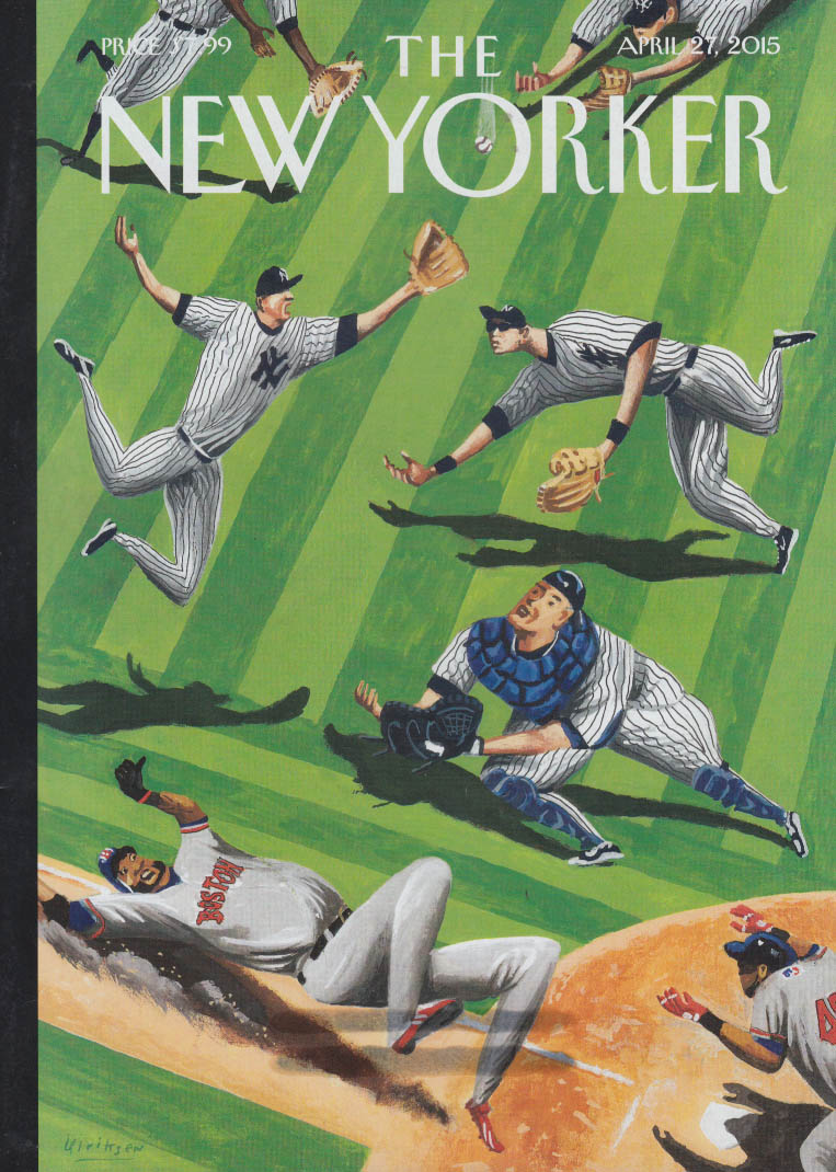New Yorker cover 4/27 2015 Ulriksen Yankees dive for pop-up as Red Sox score