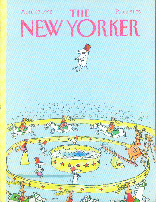 New Yorker cover Booth high-diving circus dog 4/27 1992