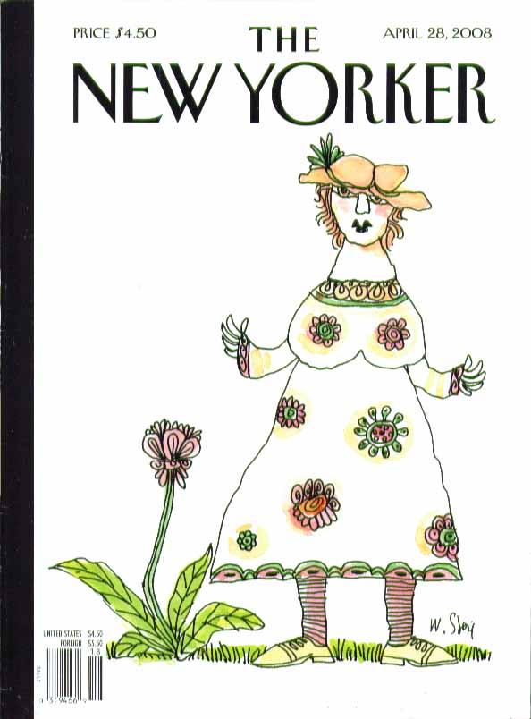 New Yorker cover Steig huge flowered dress 4/28 2008