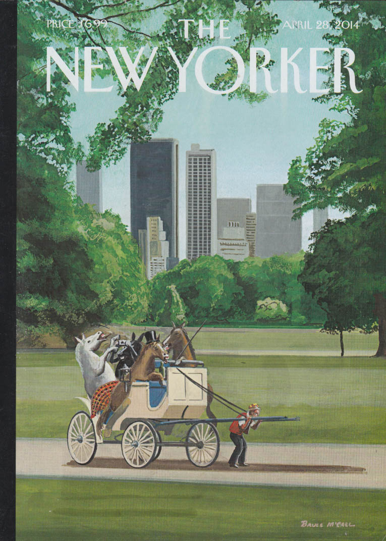 New Yorker cover 4/28 2014 McCall: driver pulls Central Park wagonful of horses