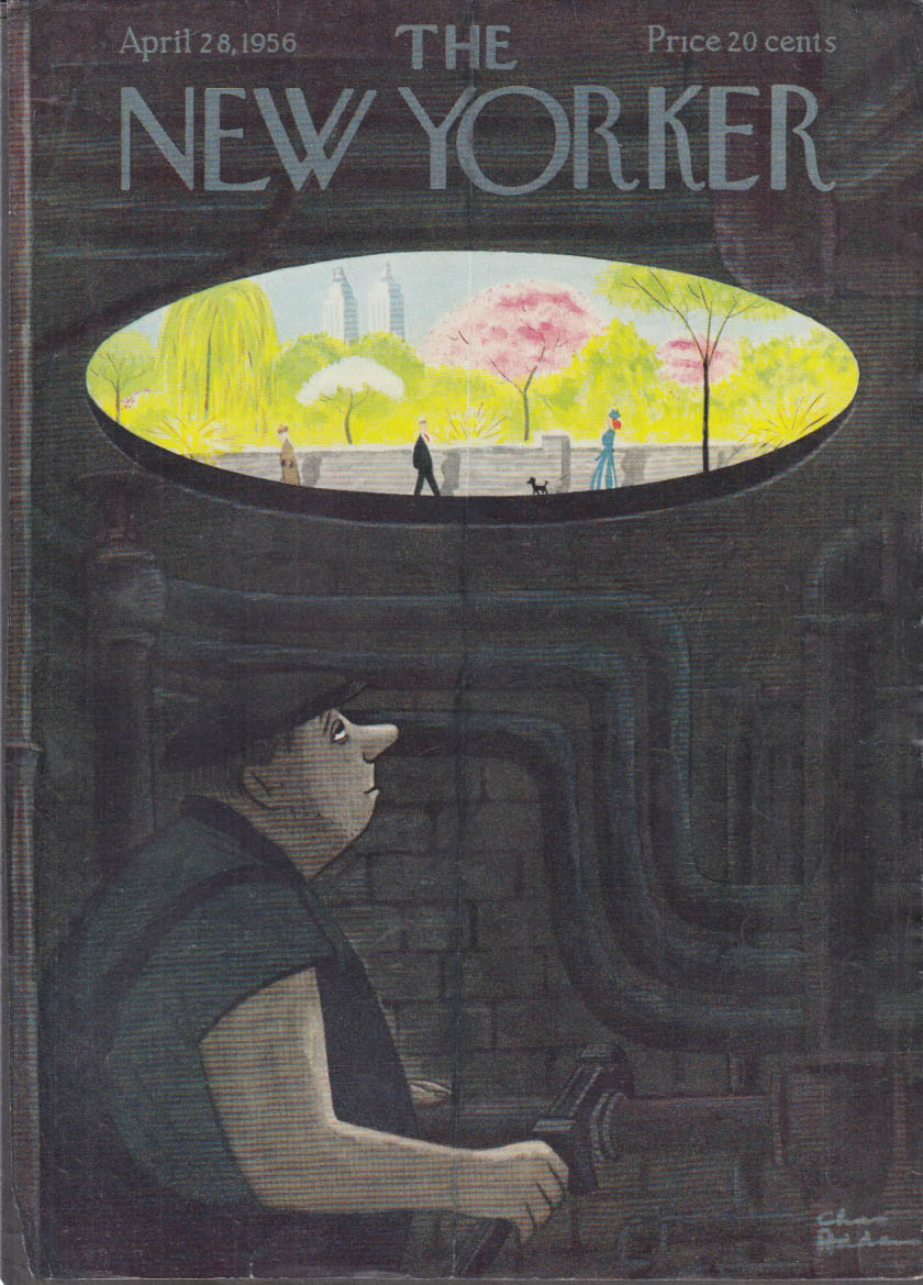 New Yorker cover Chas Addams 4/28 1956 sewer worker eyes spring day