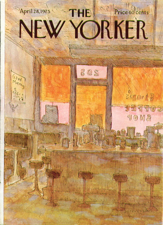 Image for New Yorker cover Stevenson coffee shop closed 4/28 1975