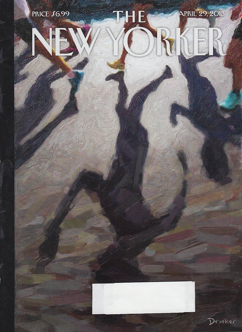 New Yorker cover 4/29 2013 Drooker: walkers cast shadows on pavement
