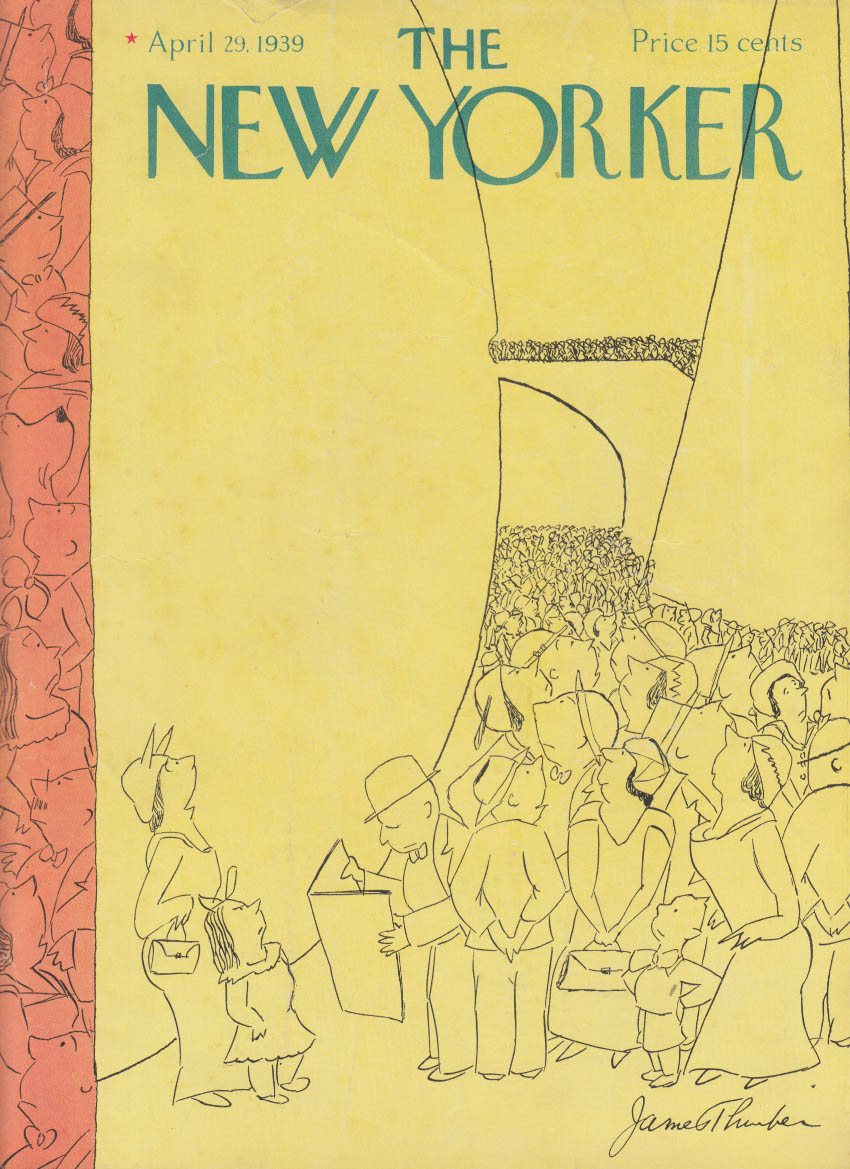 New Yorker cover 4/29 1939 James Thurber 1st crowd at NY World's Fair
