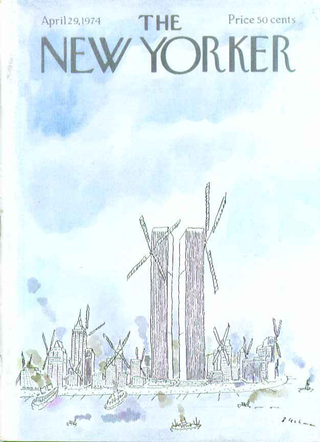 New Yorker cover Blechman World Trade Center 4/29 1974