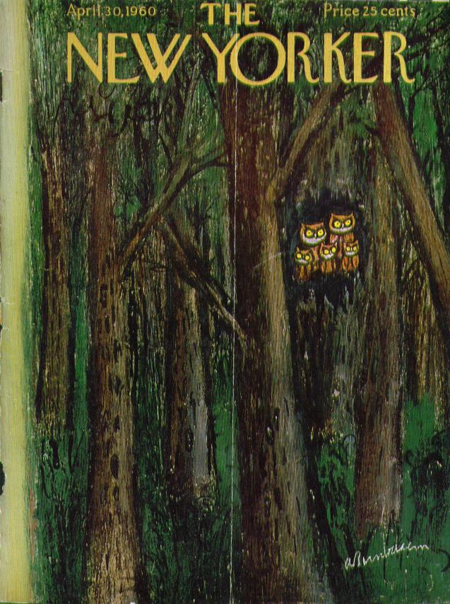 New Yorker cover Birnbaum family of owls 4/30 1960