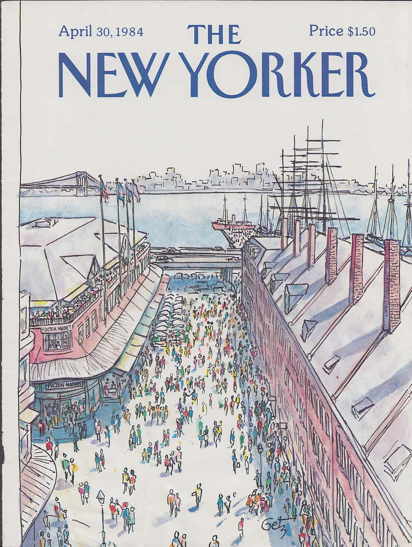 New Yorker cover 4/30 1984 Getz Fulton Fish Market Brooklyn Bridge