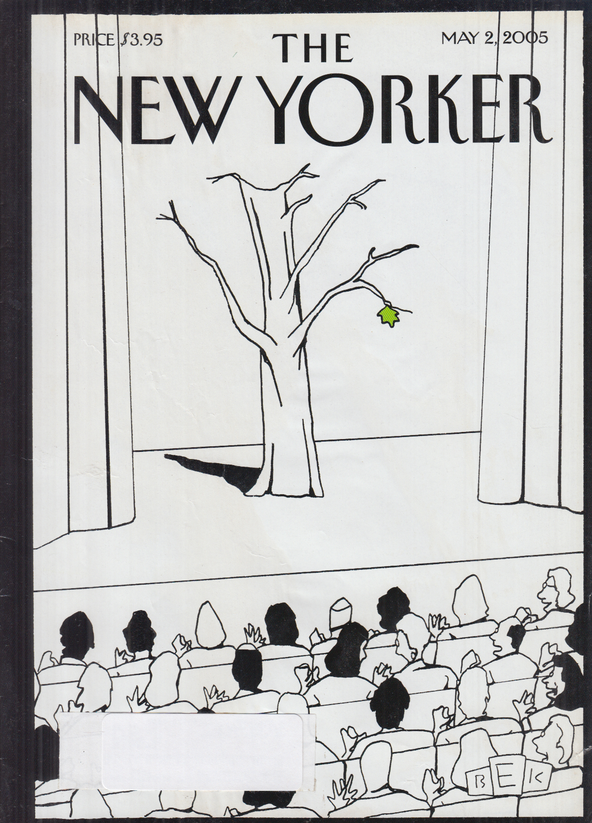 Image for New Yorker cover Bruce Eric Kaplan tree shows first leaf to applause 5/2 2005