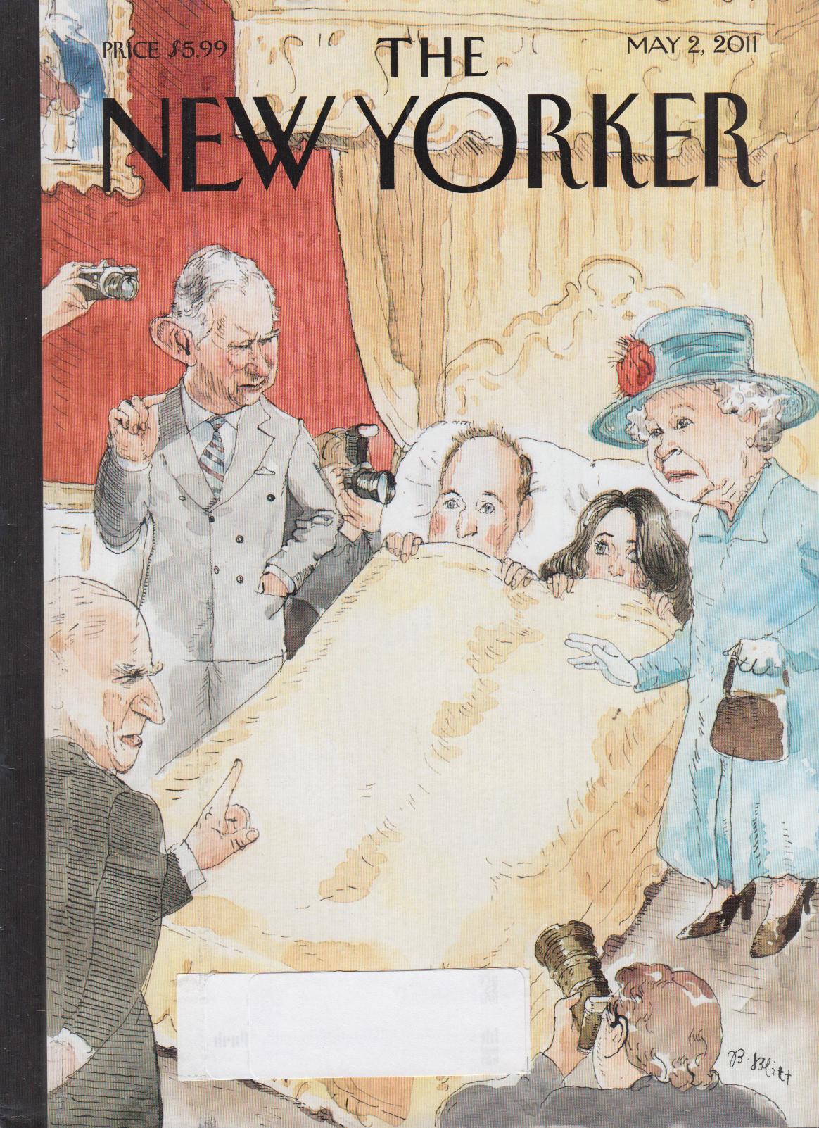 New Yorker cover Blitt 5/2 2011 Photogs & Queen in Prince William's bedroom