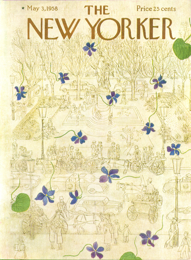 New Yorker cover Karasz carriage rides in Central Park 5/3 1958