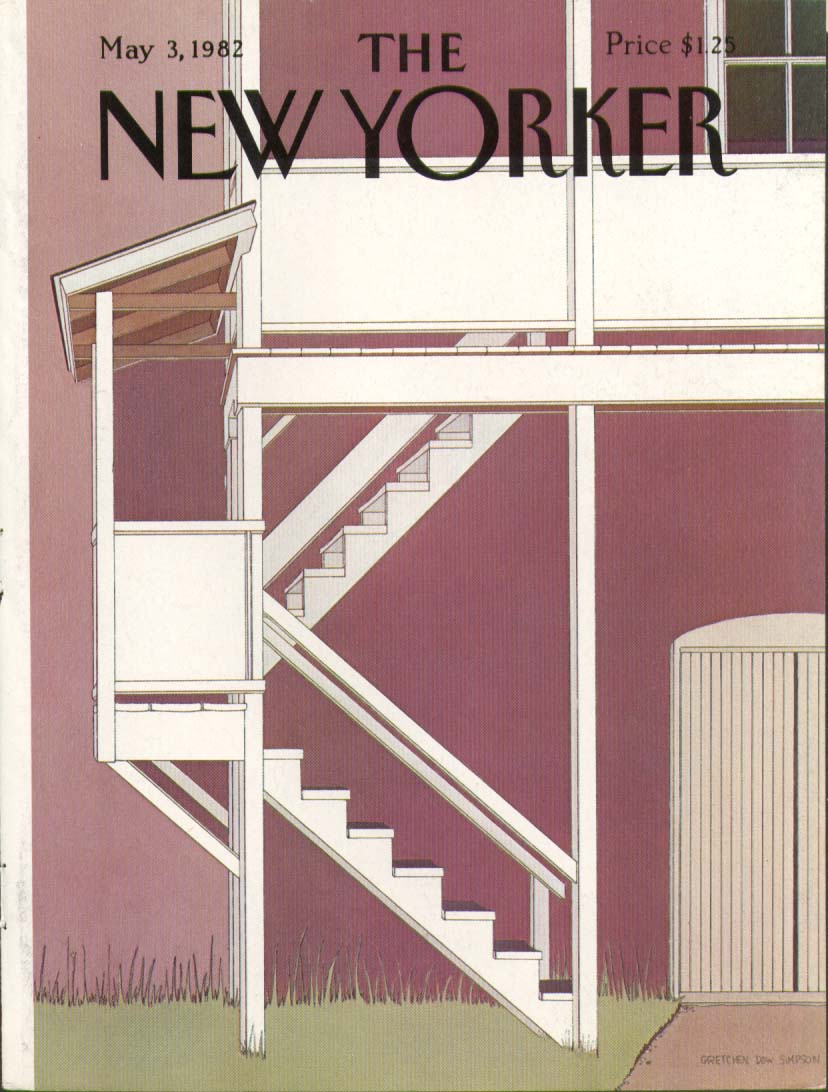 New Yorker cover Simpson stairs up to loft 5/3 1982