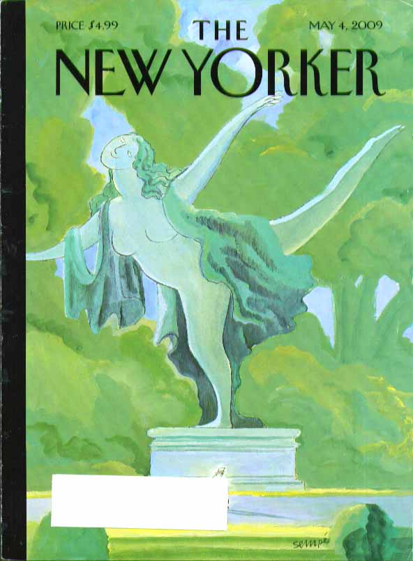 Image for New Yorker cover Jean-Jacques Sempe Cnetral Park nude sculpture 5/4 2009