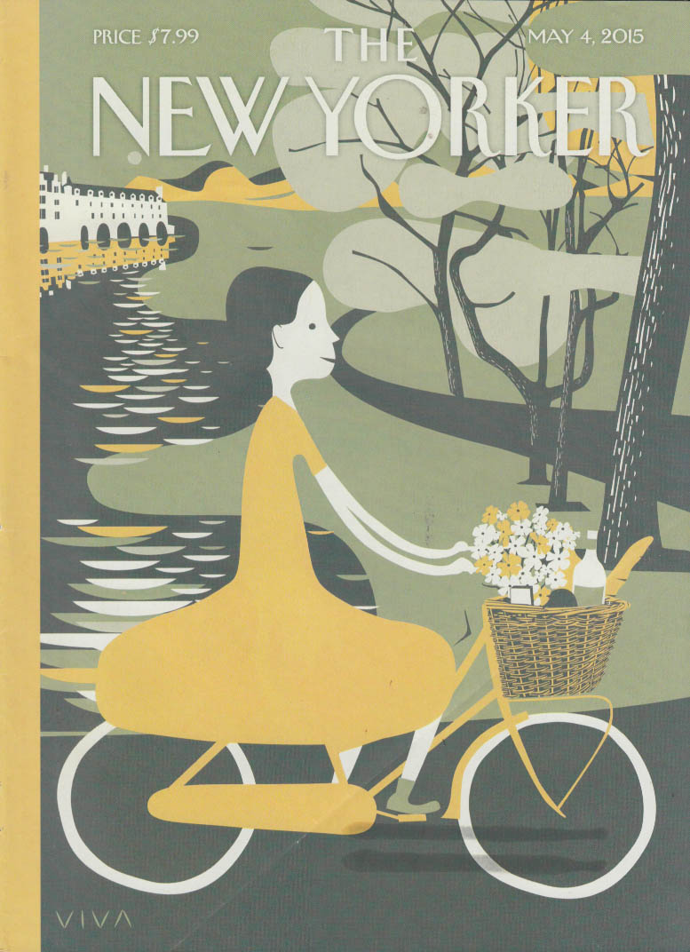 New Yorker cover 5/4 2015 Viva: bicycling girl with wine & flowers in basket