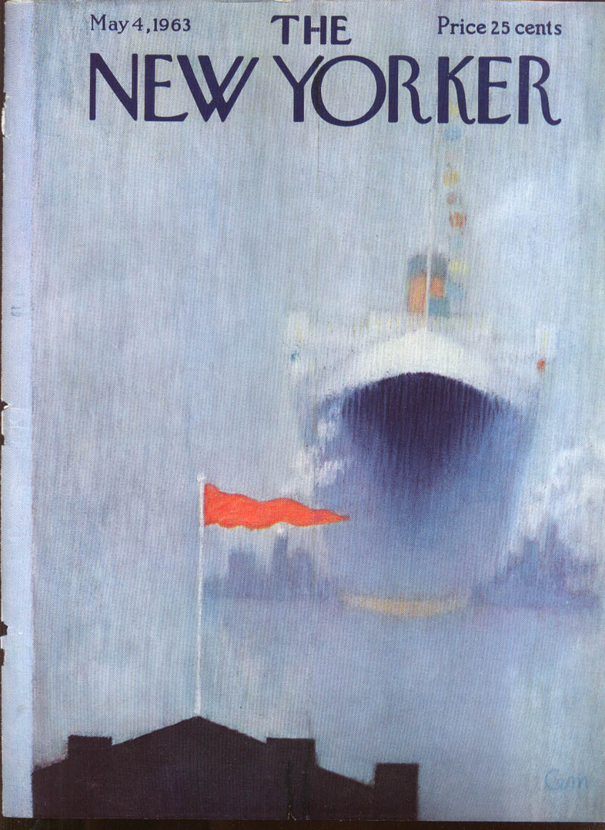 New Yorker cover CEM ocean liner & tugs dock in dense fog 5/4 1963