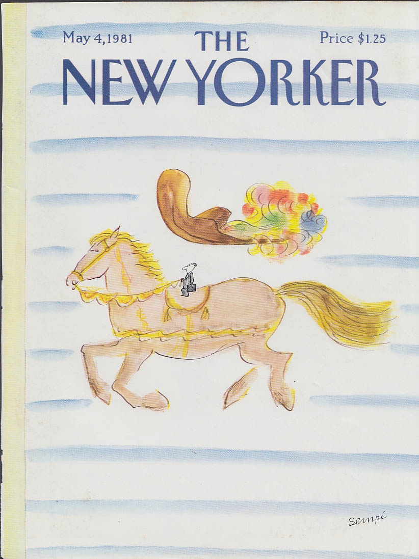New Yorker cover Sempe big horse hat tiny guy 5/4 1981