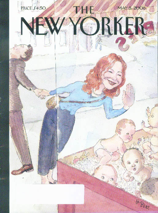 New Yorker cover Blitt woman looking at litter of babies in window 5/5 2008