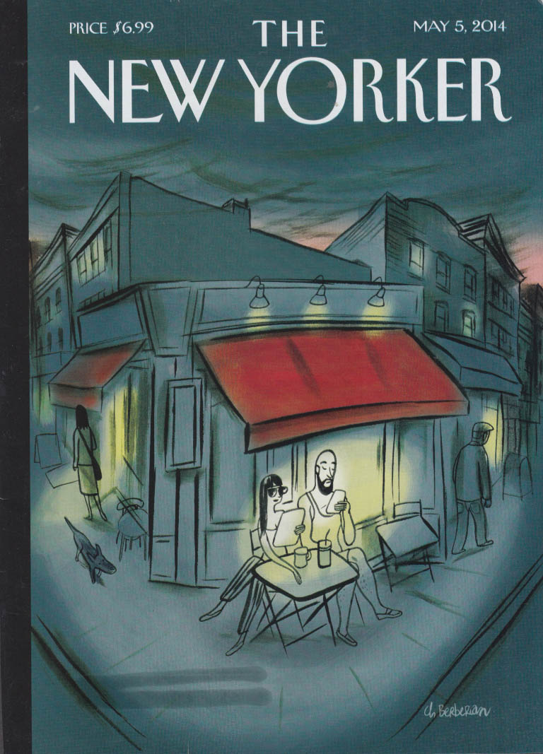 New Yorker cover 5/6 2014 Berberian couple browse phones at sidewalk café