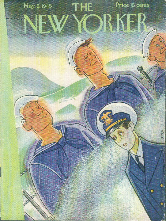 New Yorker cover Rea Irvin new Navy officer seasick, swabbies not 5/5 1945