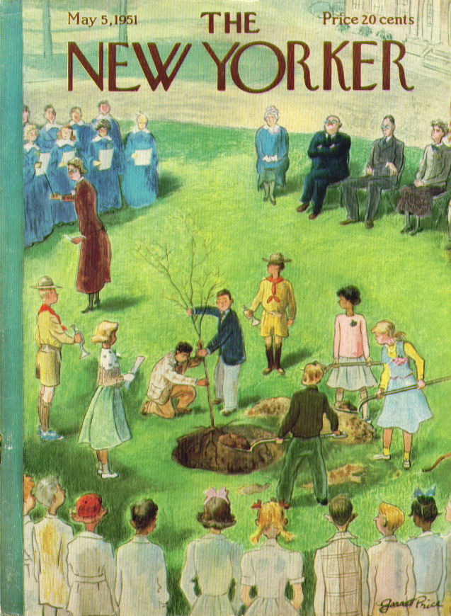 New Yorker cover Garrett Price schoolkids & Scouts plant Spring tree 5/5 1951