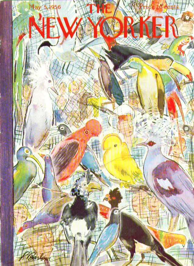 New Yorker cover Barlow exotic tropical birds in a cage 5/5 1956