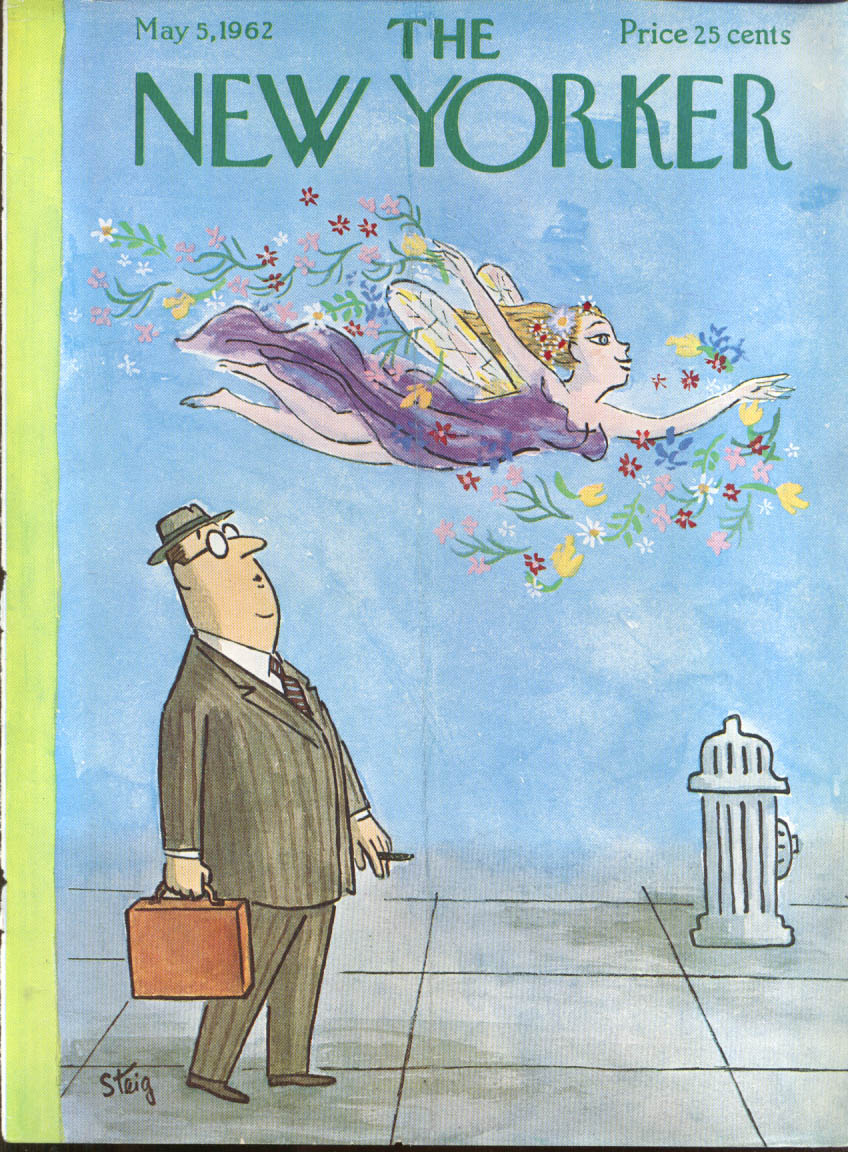 New Yorker cover Steig Spring muse appears to cigar smoking exec 5/5 1962