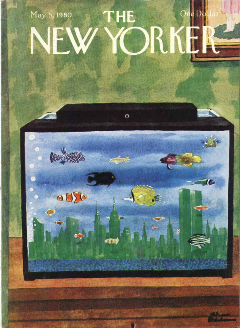 New Yorker cover Addams WTC skyline aquarium 5/5 1980