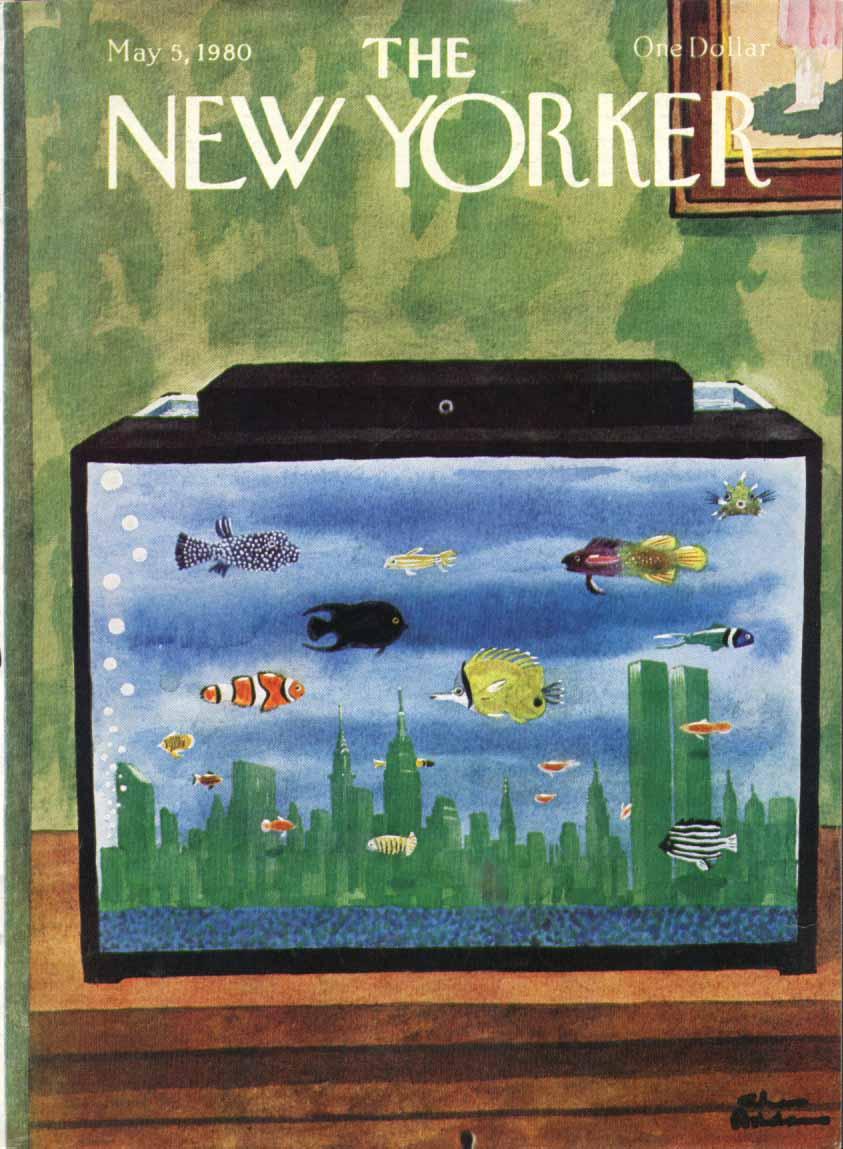 New Yorker cover Addams WTC skyline aquarium 5/5 1980