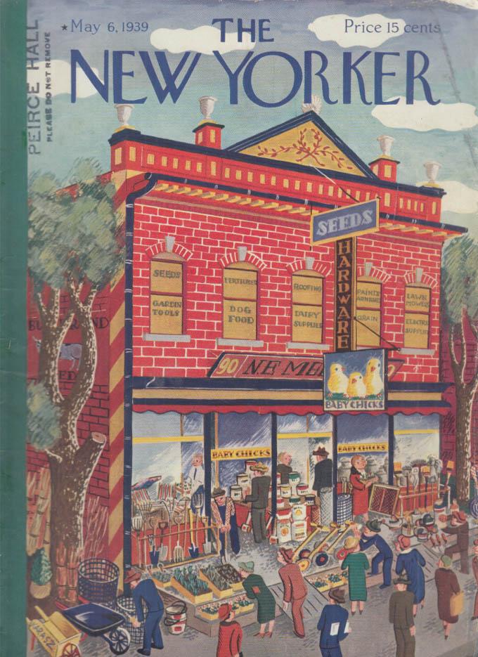 New Yorker cover Karasz Seed Hardware Baby Chicks storefront 5/6 1939