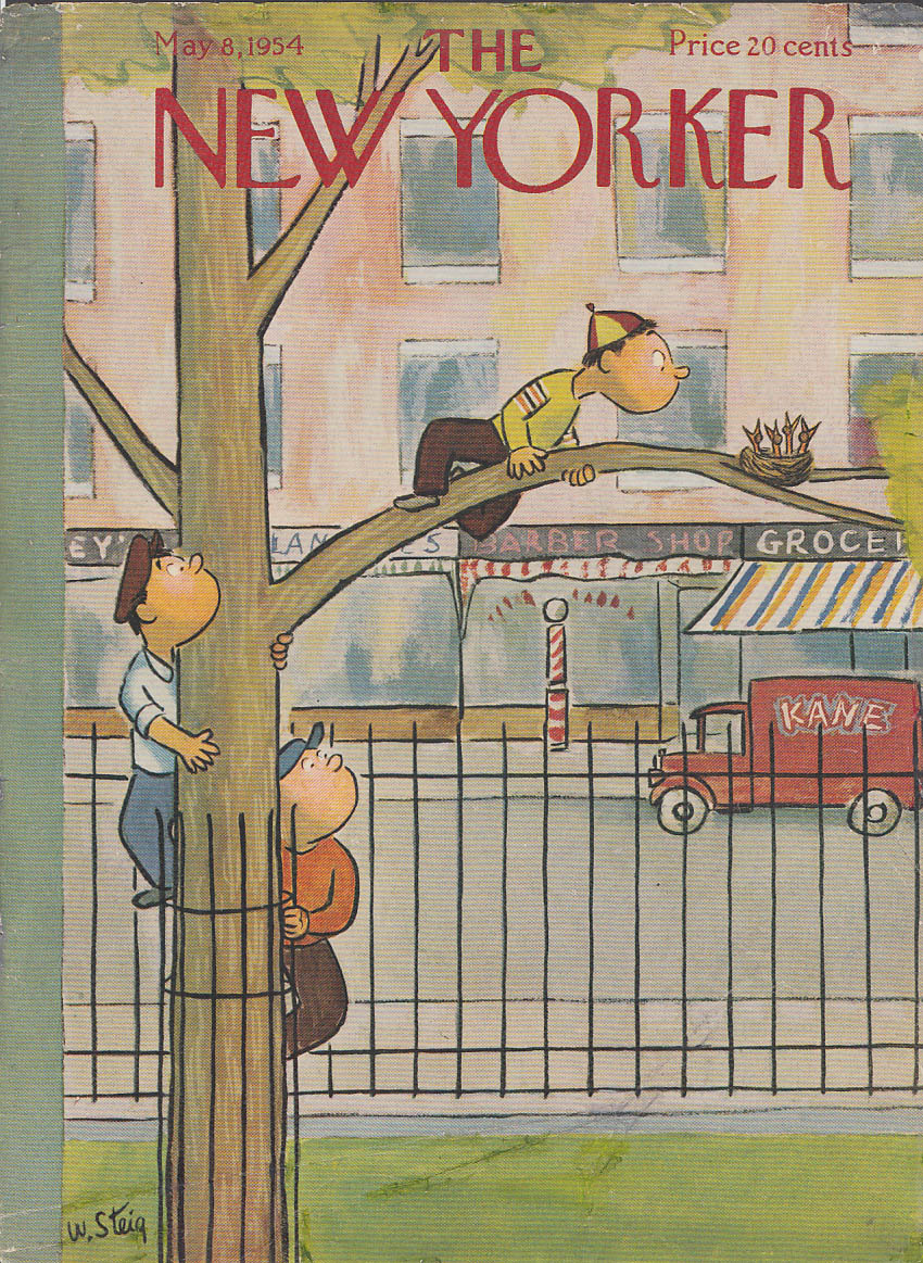 New Yorker cover Steig 3 boys climb tree to see baby birds in nest 5/8 1954