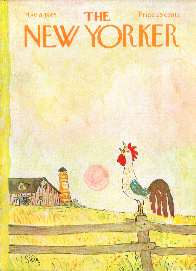 New Yorker cover Steig Rooster crows long after sunrise 5/8 1965