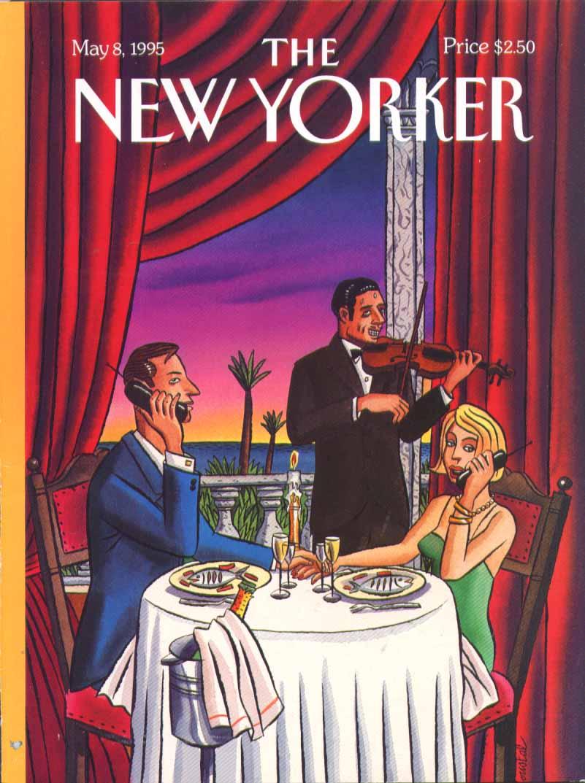 New Yorker cover de Loustal cellphone fiddler 5/8 1995