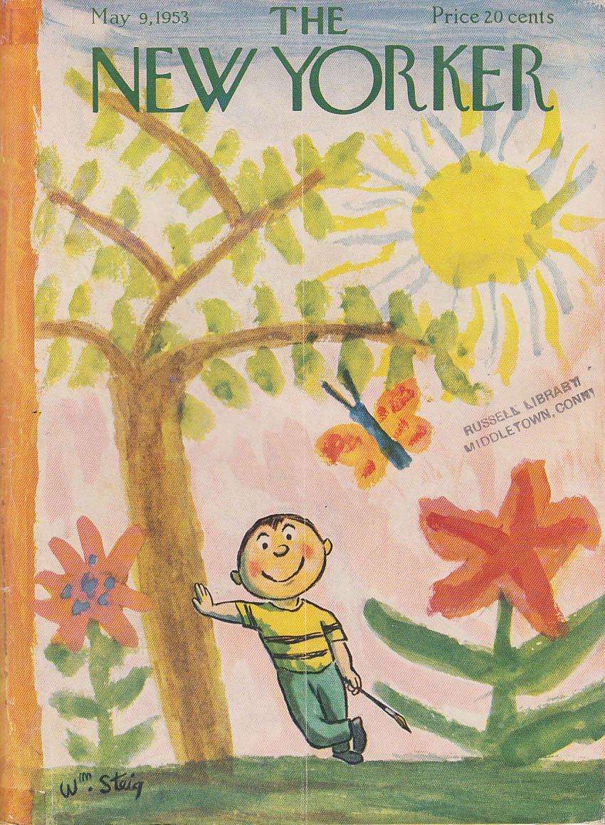 New Yorker cover Steig little boy paints Spring mural 5/9 1953