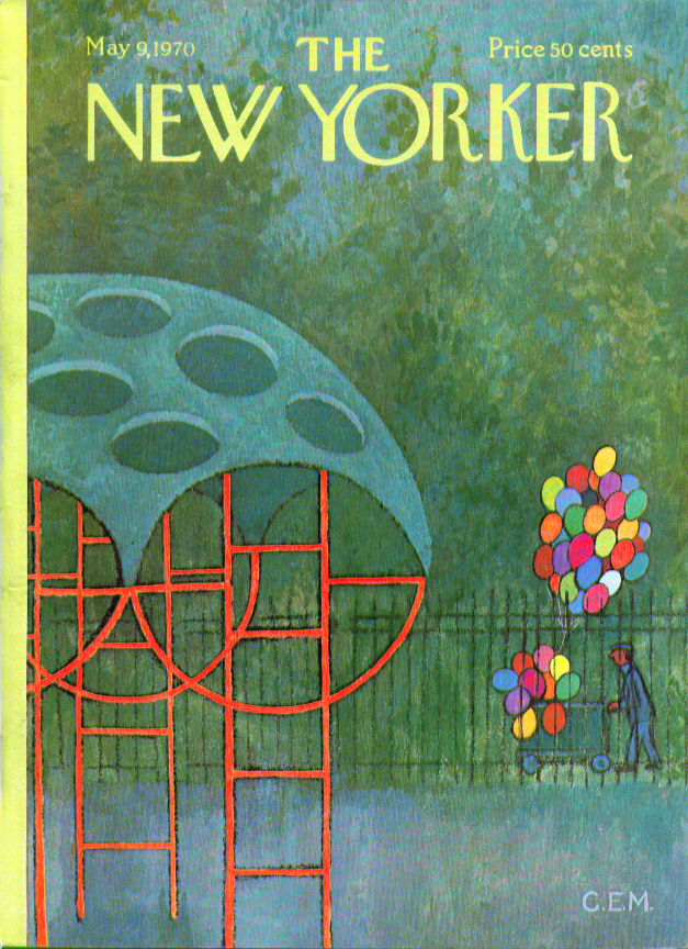 New Yorker cover CEM balloon vendor approaches empty playground 5/9 1970