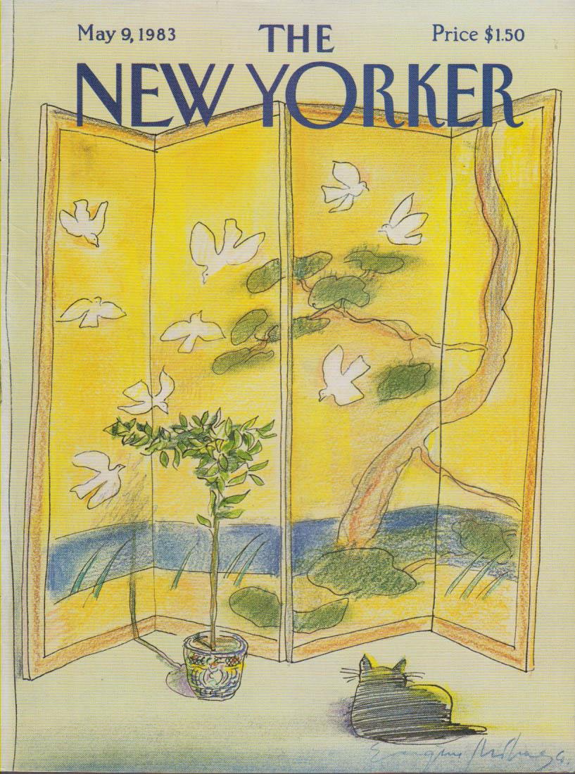 New Yorker cover Mihaesco cat & Japan Screen 5/9 1983